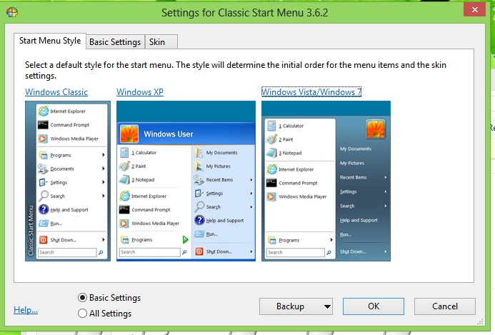 "ClassicShell allows you to choose from your favorite Start button skin: Windows ""Classic"" (circa Windows 2000), Windows XP, or Windows 7."