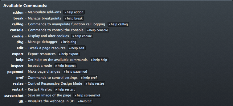"A display of the command line's main ""help"" command list."