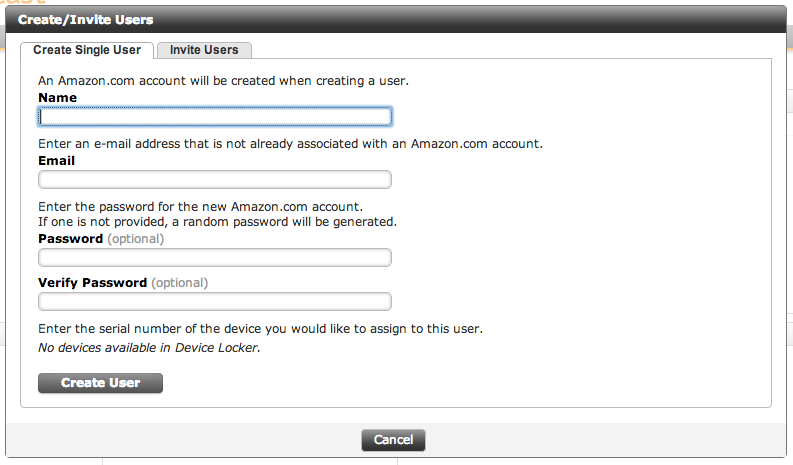 Console administrators can create new Amazon accounts for their users, but more advanced features like Active Directory integration are absent.