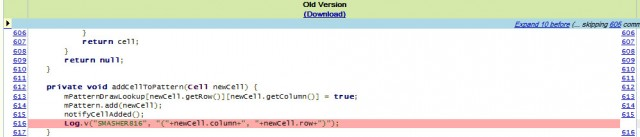 The offending line of code, highlighted, has been removed.