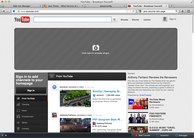 An example of a blocked plug-in—Flash on the YouTube homepage.