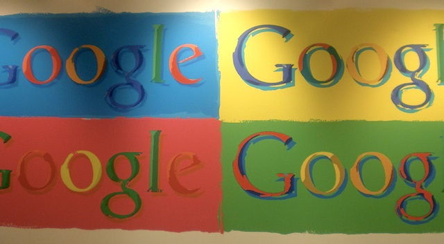 Google logo in the company's London offices.