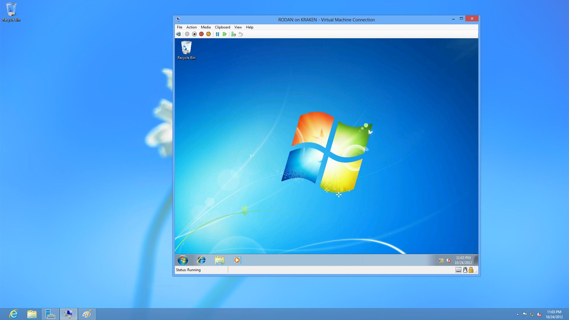 Hyper-V is now integrated into Windows 8. Both the Hyper-V Manager and Virtual Machine Connection are included, and even if you can't run a virtual machine on your older desktop, you can connect to VMs running on other desktops or servers.