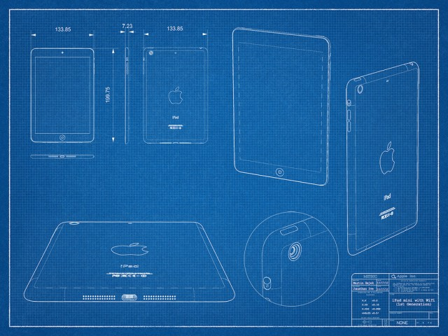 "A ""blueprint"" of the rumored iPad mini by designer Martin Hajek."