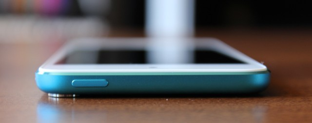 The camera lens protrudes a bit from the back of the iPod, making it slightly uneven when sitting on a flat surface.