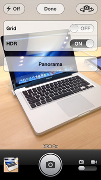 The iPod touch camera UI now matches the experience on the iPhone 5, including HDR and panorama shooting.