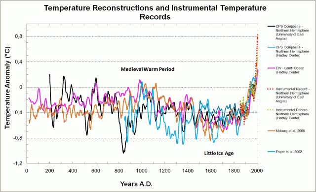 "A more current version of climate reconstructions, showing the iconic ""hockey stick"" trajectory."