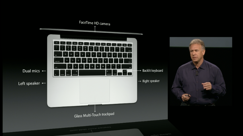The new MacBook Pro includes most of the perks of Apple's other laptops, including a FaceTime HD webcam and backlit keyboard.