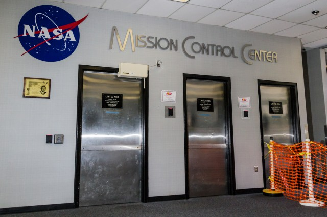 Security doors leading to Building 30's Mission Operations Wing.