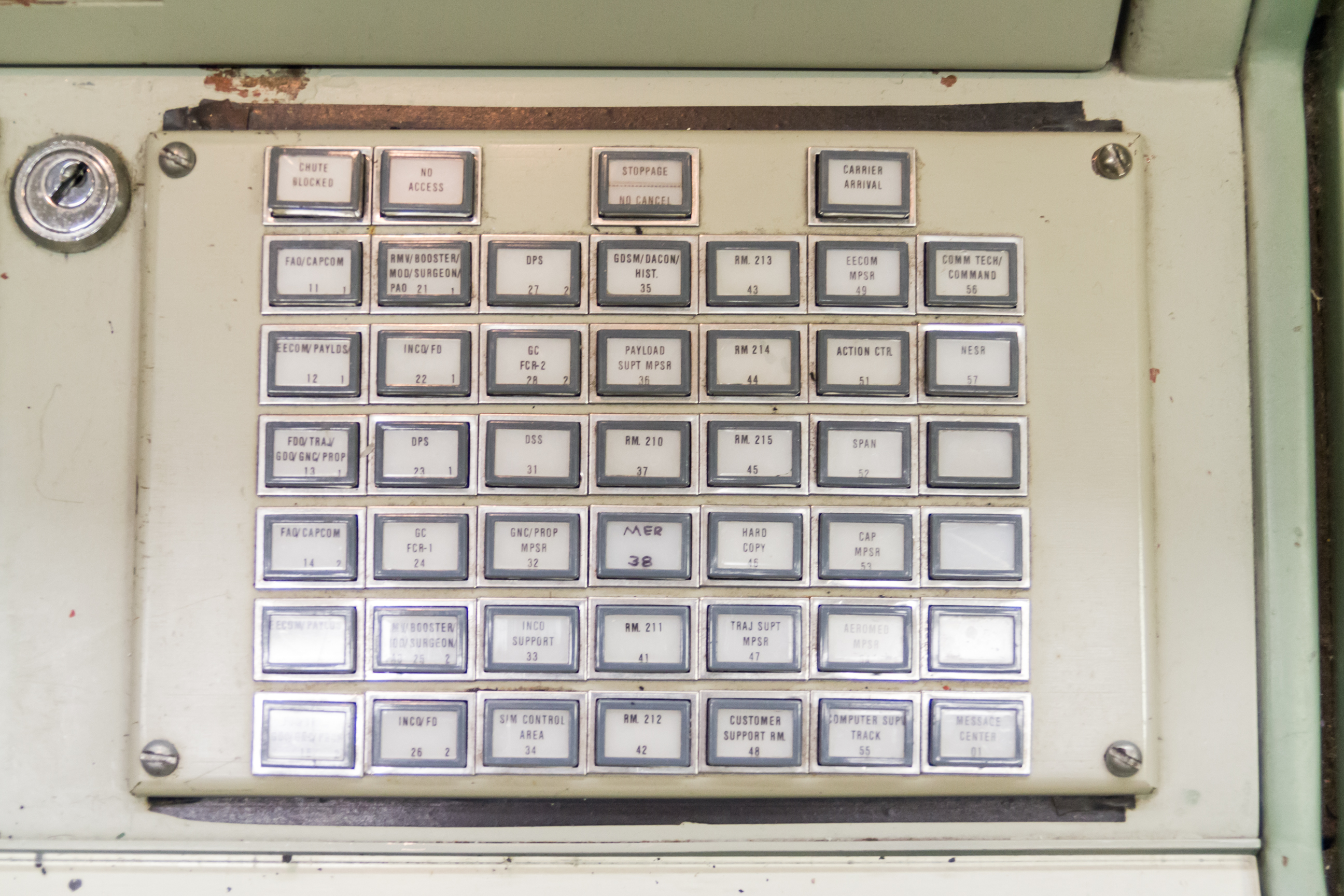 Close-up of a p-tube control panel, showing the destinations a tube could be sent.