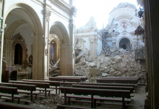 St. James Church in Lorca, Spain after an earthquake on May 11, 2011.