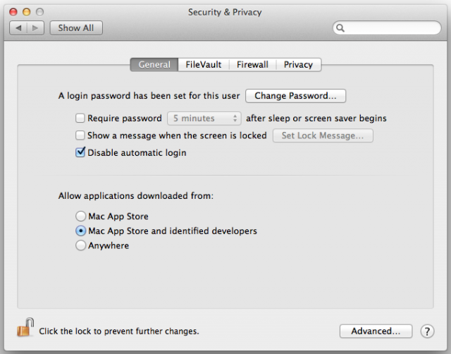"The default Gatekeeper setting in OS X Mountain Lion. In Lion, ""anywhere"" was the default option."