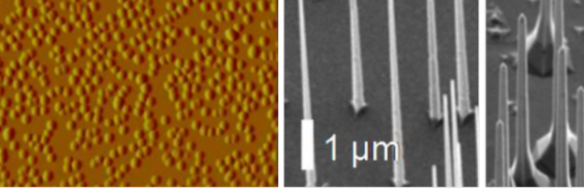 Electromicrograph of the surface (left) and nanowires (right) in a nanostructured photovoltaic cell.