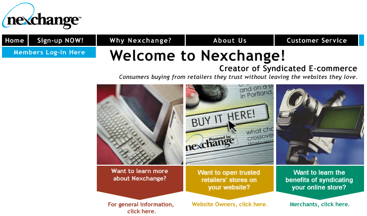 The Nexchange website as it appeared shortly before going out of business in 2000.