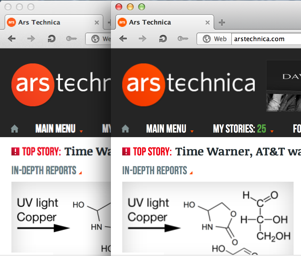 Opera looks nice and sharp on a Retina Display in OS X (enlarge to see the effect more clearly). Opera 12.02 is on the left and 12.10 is on the right.