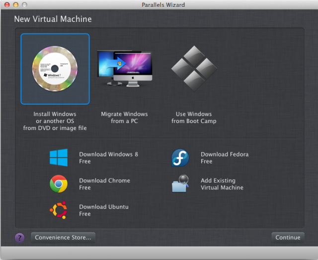 Parallels' setup wizard gives you a variety of wizards to choose from, and can download several operating systems for you.