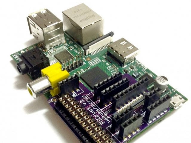 The Pi Crust is designed to be a breakout board that fits right on top of the Raspberry Pi.