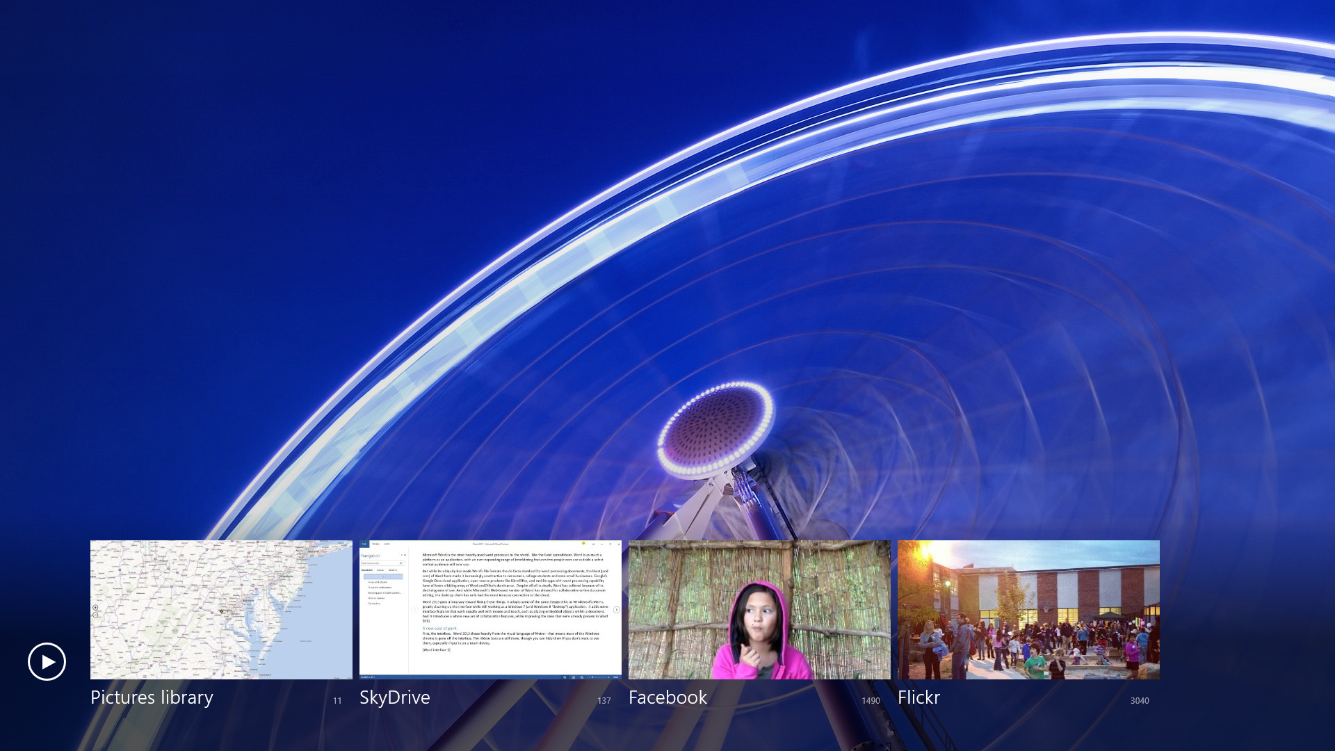 The Metro Photos app accesses images from the services you link to your Microsoft account (Facebook, Flickr, and SkyDrive), as well as your local image library.