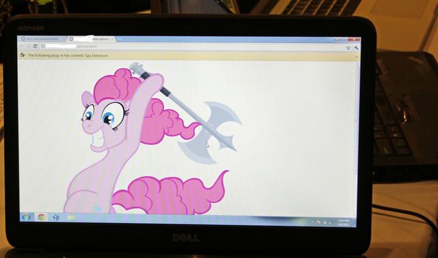 An image displayed on a computer after it was successfully commandeered by Pinkie Pie during the first Pwnium competition in March.