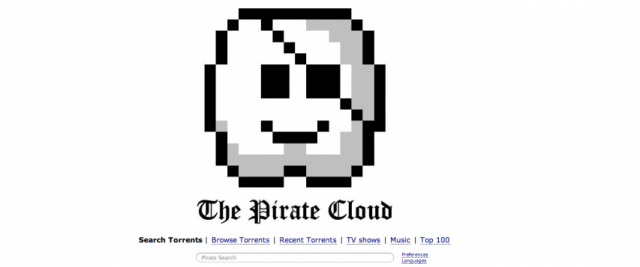 The Pirate Bay's home page announces the site's move to the cloud.
