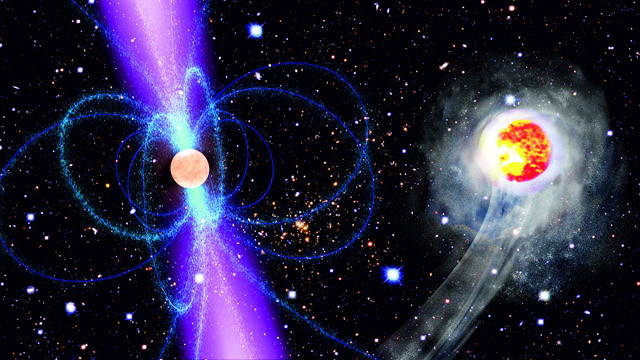 Artist's impression of a black widow pulsar: a rapidly spinning stellar remant that strips matter off a companion star and evaporates it by intense radiation.