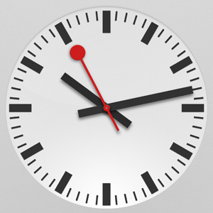 The iPad's new Clock app uses the same sweeping red second hand as SBB's iconic railway clocks.