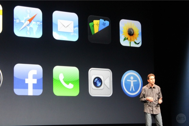 Scott Forstall presenting new iOS features during Apple's September 2012 media event.
