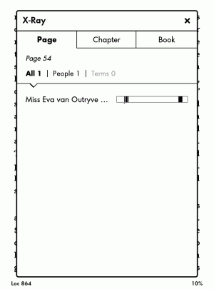 A screenshot of the Kindle Paperwhite's X-Ray feature, which shows instances of characters and other book information in each chapter.