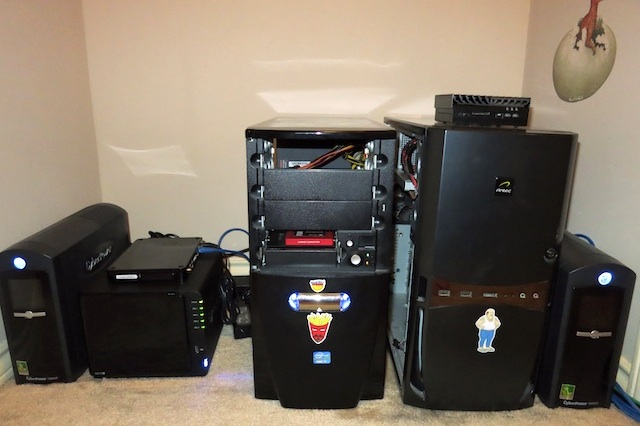 Why I use business class Internet—a pic of my home server closet.