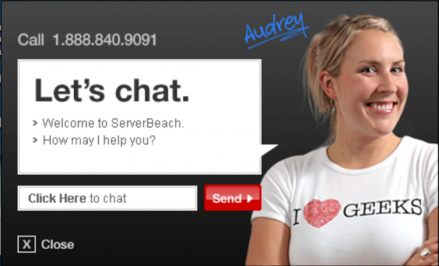 Audrey from ServerBeach loves geeks (and prompt reactions to DMCA takedown notices).