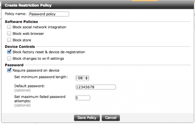 Policies defined in the Whispercast console can be applied to multiple user groups.