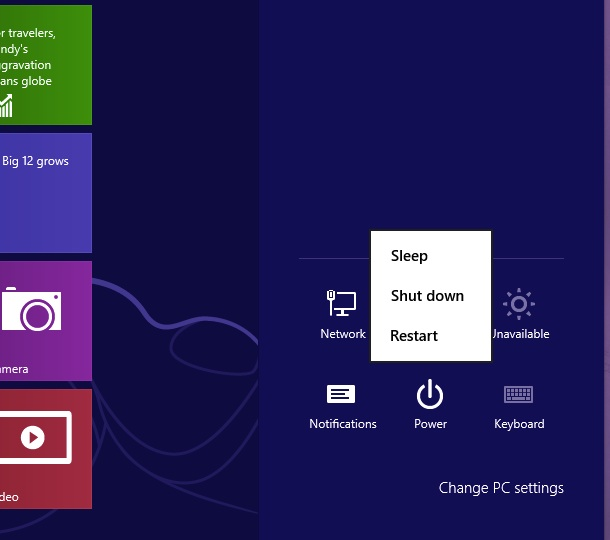 Click on Power in the Setup menu to power down or restart your PC, or to put it into sleep mode.