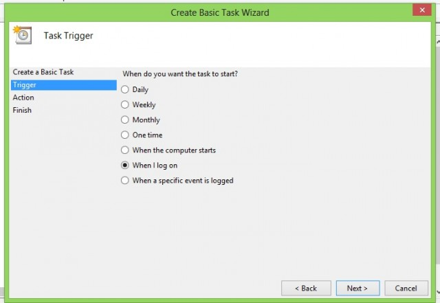 "Select ""When I log in"" as the task trigger. Click next."