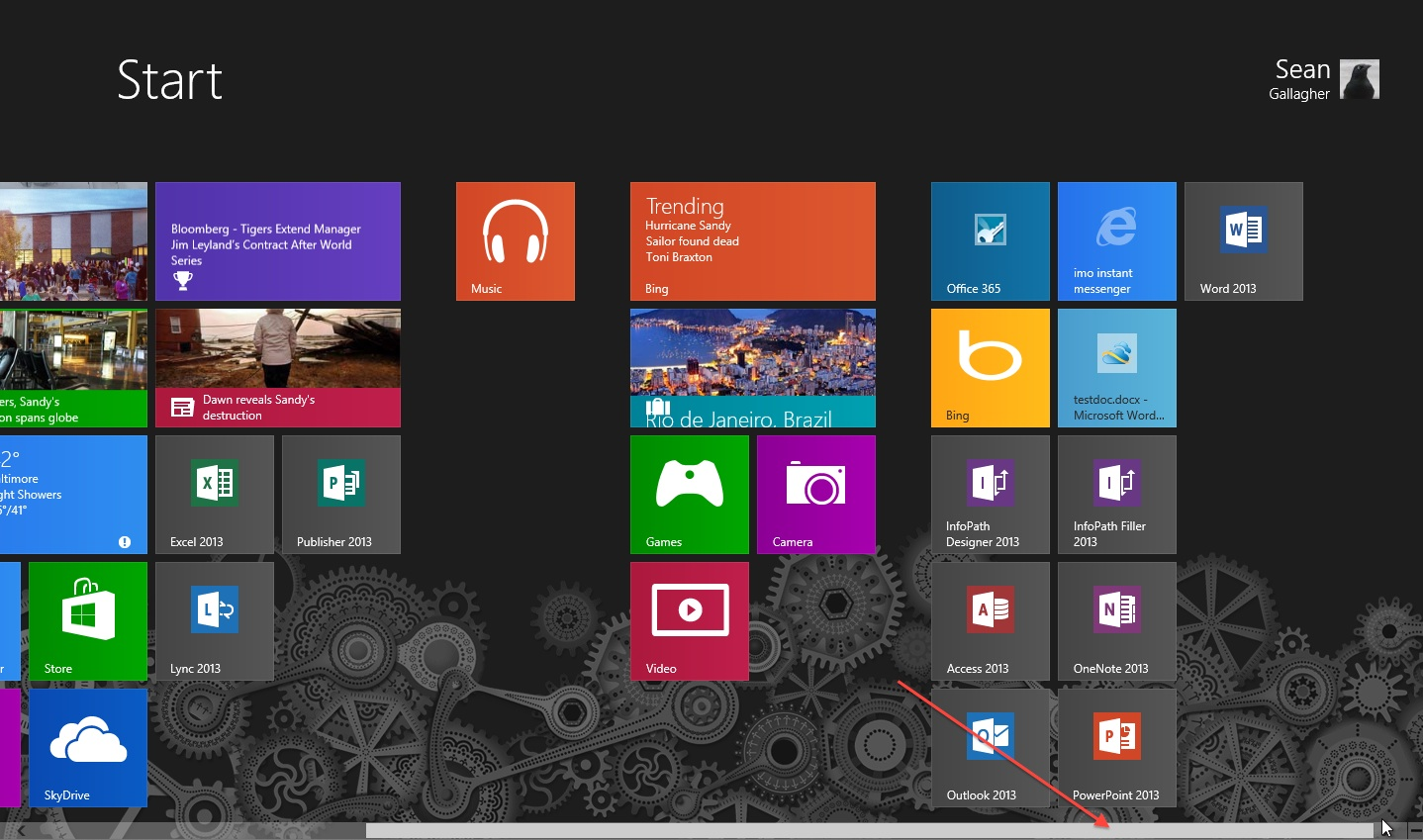 Panning across the Start screen. There's also a scrollbar at the bottom of the start menu if your mouse lacks a scroll wheel.
