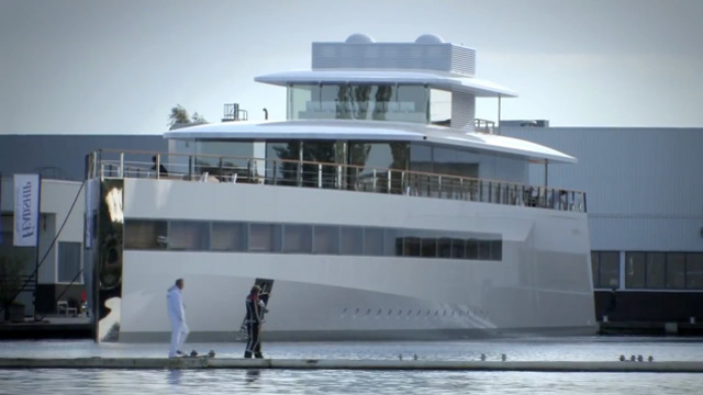 "Steve Jobs' yacht ""Venus"" docked at Feadship in Aalsmeer, The Netherlands."