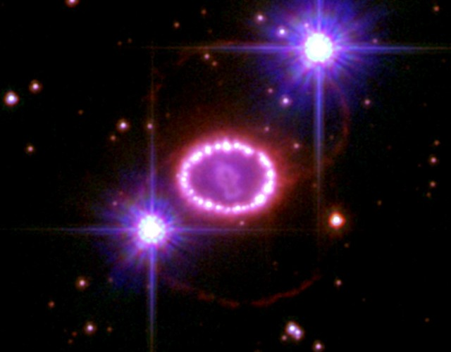 A ring of bright material surrounds the supernova remnant SNR 1987a, the closest supernova to Earth in 400 years. New observations have shown that much of the light emitted from the remnant is due to the decay of radioactive titanium.