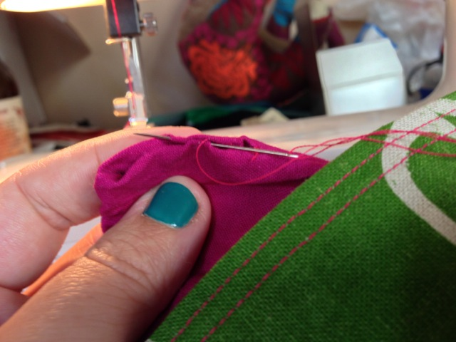 Slip stitch the hole you left in the lining.