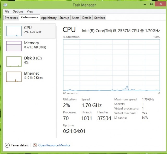 There's also a detailed view of CPU, memory, network, and disk utilization over time in Task Manager. And you can get a look back at application history and other data to track usage in depth.