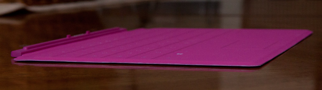 The Touch Cover is a little over 3mm thick, and its key surface is almost completely flat.