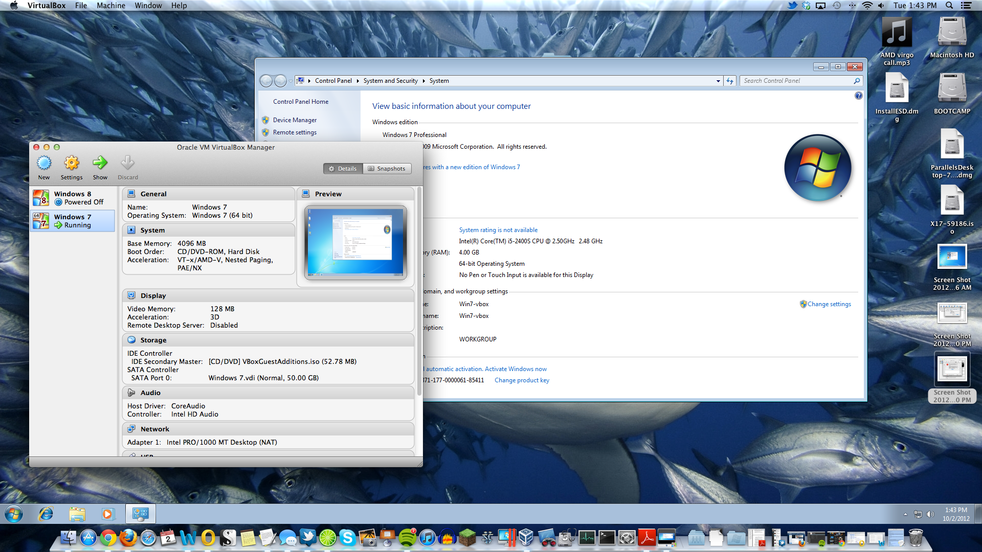 VirtualBox's Seamless mode works pretty well, though the taskbar can sometimes get in the way of your OS X applications.