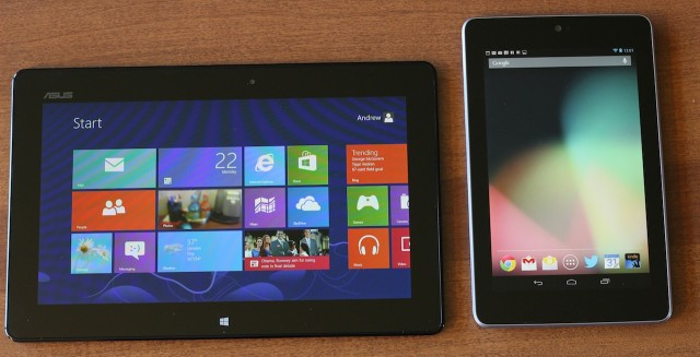 "The VivoTab RT next to the 7"" Nexus 7, also by Asus."
