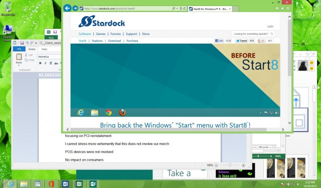 The Windows 8 Desktop interface looks (mostly) like the old Windows, minus the Start button menu. But there are ways of getting that back with add-on products.
