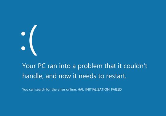 "One thing hasn't changed about Windows's ""Blue Screen of Death""—it's still blue. But Microsoft has added an emoticon to show that they <em>feel</em> your pain."