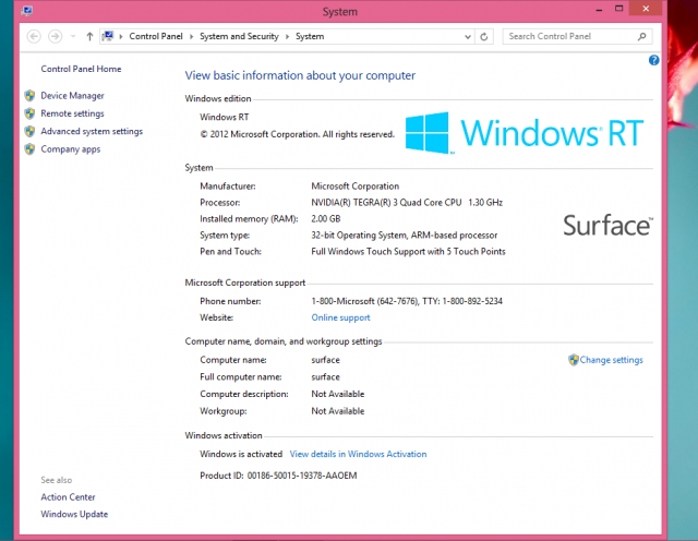 System Properties are one of the few places that Windows RT distinguishes itself from Windows 8.