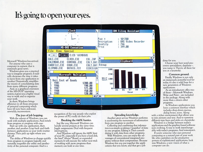 Windows 1.0 was released in November 1985, with the brochure shown above arriving in January 1986.