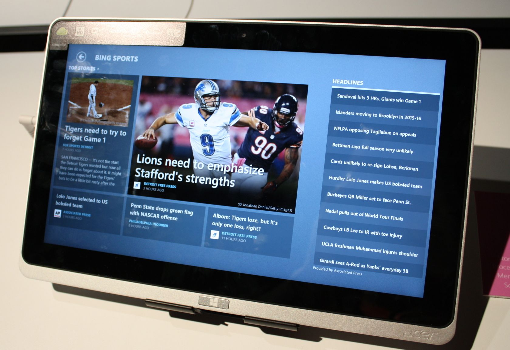 The Bing Sports app on the Acer Iconia Tab A700.