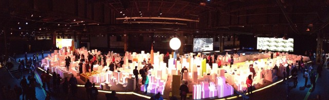 A panorama of Microsoft's Microtropolis at Pier 57.