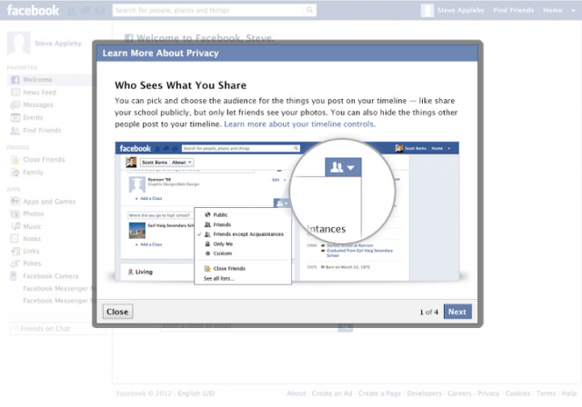 This is one of the pages new Facebook users will see upon signing up.
