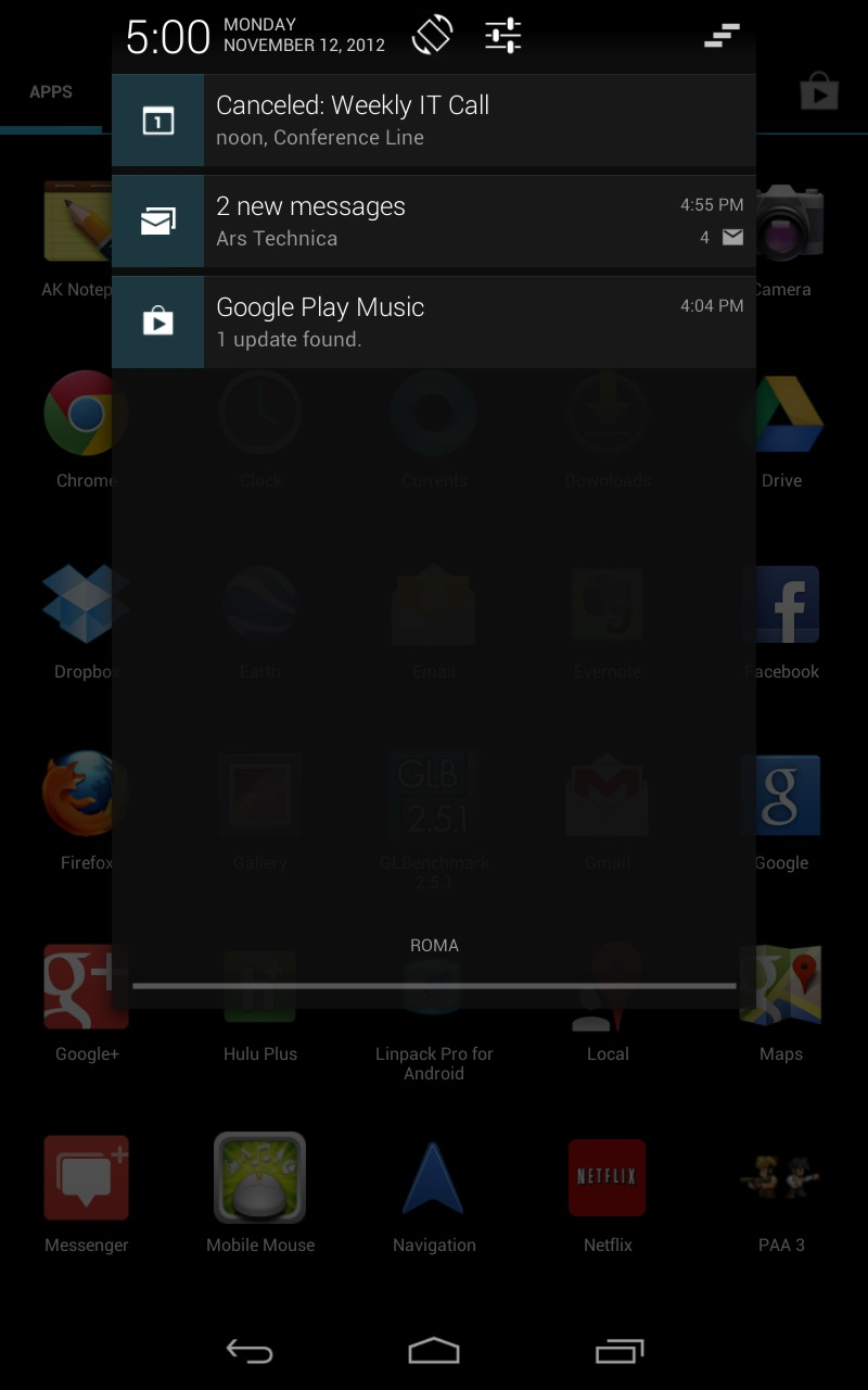 The old Android 4.1 notifications menu was center-aligned and included links to a couple of settings.