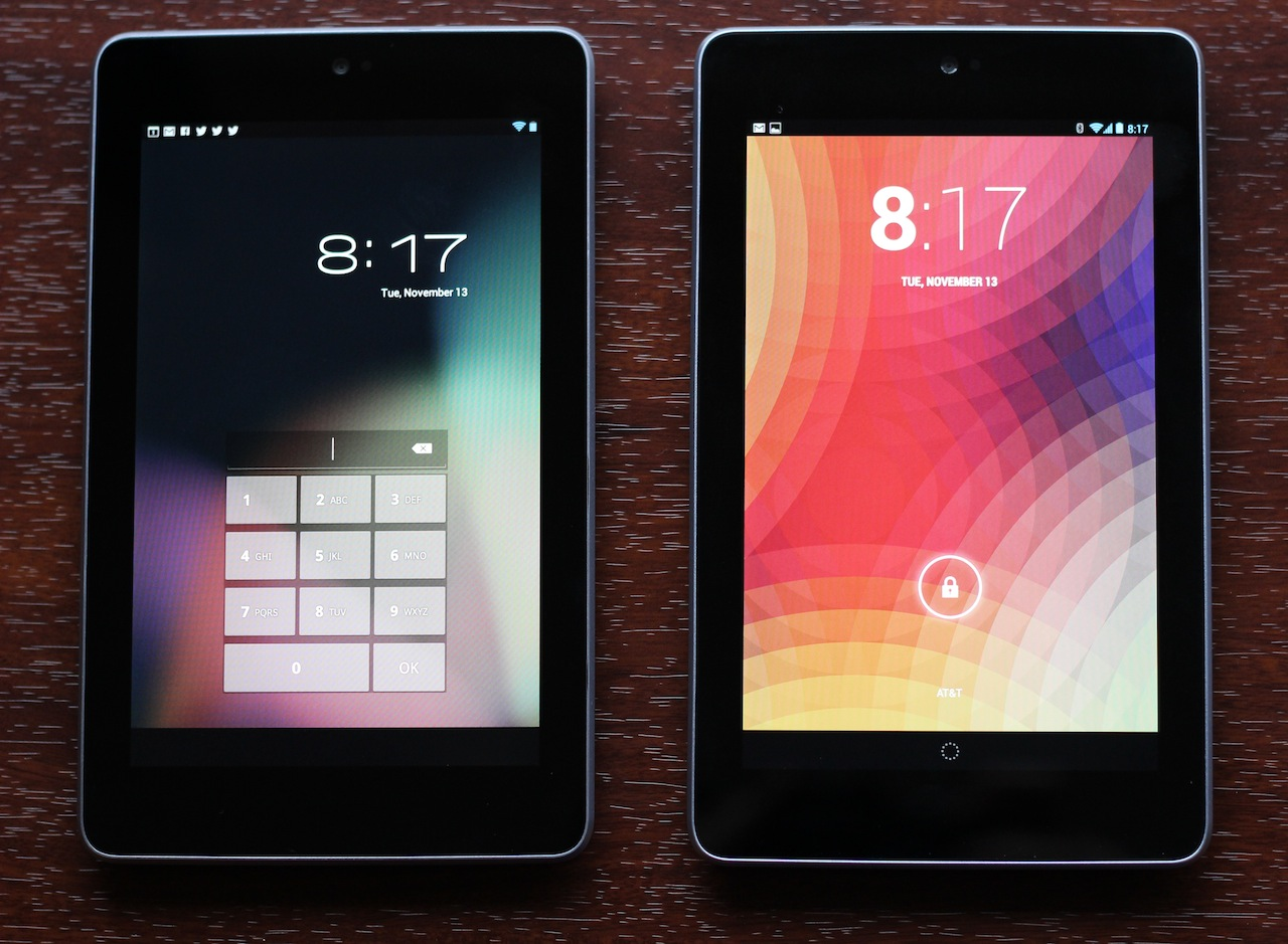 A Nexus 7 running Android 4.1 (left) next to one running 4.2 (right). By comparison, Android 4.2 is much more eager to tell you what hour it is.